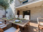 Furnished patio suitable for outdoor dining