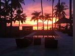 beautiful sunset directly on the Villa