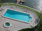 Ariel view of the heated pool and jacuzzi