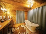 Master bath featuring dual sinks, custom poplar bark cabinetry, walk-in closet, state-of-the-art steam shower, and...
