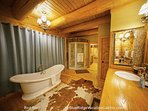 Another view of the soaking tub in the master bath at Red Stag Lodge.