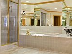 Spacious Master Bathroom oversized jetted tub and steam shower.