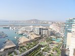 Stunning views over Ocean Village Resort to the Sunborn Super Yacht and Spain beyond