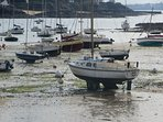 Coast scene exposed during low tide near the resort of Dinard