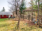 Large yard in the spring w/ swing set