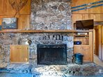 Large rock fireplace