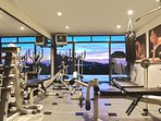 Enjoy the view while working up a sweat in our private gym