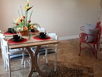 Breakfast area with extra bench seating.