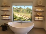 master bath with horses
