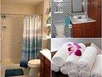 Fully equipped bathroom: towels, hair dryer, etc.