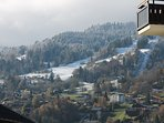 View south toward Bettex telecabines & ski runs across St Gervais. Photo by Andy Greaves, proprietor