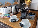 Nesresso machine and tea making facilities are for your use