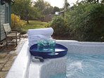 hire our hot tub that seats six for just £70 per week; tariffs for shorter stays on request