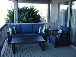Back porch with new patio furniture