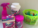 Laundry detergent, spray, soakers and pegs