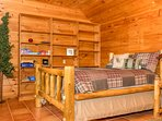 Log Full bed in lower level with mountain views and access to the firepit area