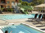 This outdoor pool and hot tub overlook Osoyoos Lake