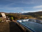 Superb views from the patio and hot-tub whatever the weather.