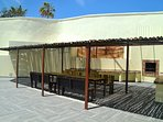 Spacious covered BBQ area with seating