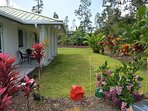 Coqui 'Ginger Hale' Cottage Front Entrance with Tropical Garden View Outside Living Room Area