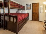 Guest Bedroom #4- Bunk Bed with Long Twin over Queen and a twin trundle pull out, as well as a twin fold away bed
