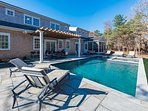 Pool, Hot Tub, Bluestone Patio, Dining and Grilling Area under Pergola