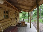 A traditional 'Frontier' style cabin fully insulated and constructed from Western Red Cedar