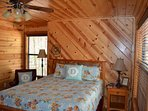 Queen bedroom with a large closet and roll away twin bed