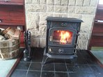 Log fire with unlimited log supply.