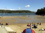 The golden sandy beach at nearby South Sands.