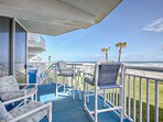 Ground level balcony with easy access to pool and beach.