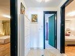 Hall between bedrooms and bathroom in groundfloor