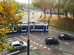 Trams stops in front of the apartment