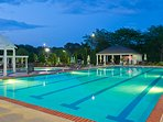 Outdoor pools are open seasonally.