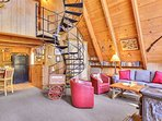 Living room and spiral stairs