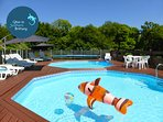 Nemo playing in the heated pools - securely fenced to comply with  legislation & key operated system
