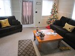 Living room all decorated for the holidays (photo last year at Christmas).