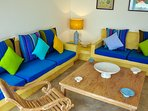 the seating area is colourful and comfy...perfect for relaxing with the family.