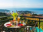 Have an amazing breakfast with a breathtaking view on the balcony of Vila Moreta