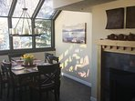 Dining are with wood fire place