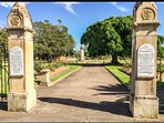 Gregson Park - main entrance.  2min walk from Stallard Cottage