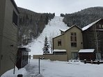 View from outside of condo unit.  Just steps to chairlift 7 (the Coonskin Lift).