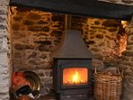 The lovely character fireplace, perfect for cosy evenings
