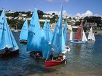 Dinghy sailing in the Salcombe estuary.