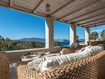 LMG Villas: upper level terrace with sea view
