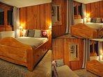 Chambre séparée de l'appartement avec vue montagne lit double et lit simple