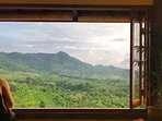 check out that view, over the Barat National park towards the volcanos on Java