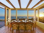 Stunning  sunrise and sunset views from the dining room. Gaze at the ocean while enjoying dinner