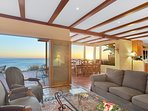 Awesome ocean views from the living room. See the dining room on the right