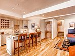 Walk-out basement with kitchen, granite counters, breakfast bar, pool table, stainless steel appliances - mini-fridge...